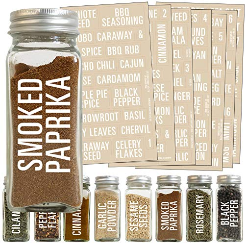 Talented Kitchen 134 White All Caps Spice Label Set: 134 Spice Names + Numbers. White Letters on Clear Sticker. Water Resistant for Spice Jars Organization Storage (Set of 134– All Caps White Spices)
