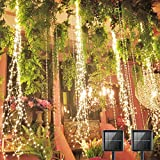 SHUKAN 2 Pack 220 LED Firefly Bunch Lights, 8 Flashing Modes Waterproof Copper Wire Waterfall Lights, Fairy Lights for Indoor Outdoor Decor (Solar Warm White)
