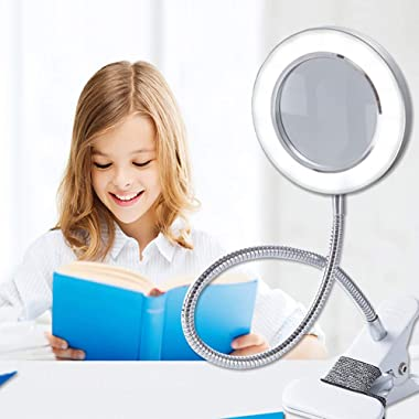 Lighting LED 8X Magnifying Lamp with Clamp 360° Flexible Gooseneck, Magnifying Glass LED Desk Lamp with Metal Clamp USB Plug