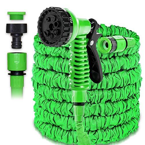 NAUC Wasserschlauch Flexibel Gartenschlauch Dehnbarer Wasser Schlauch 7,5m - 75m, Farbe:Grün, Länge:75m - 250ft