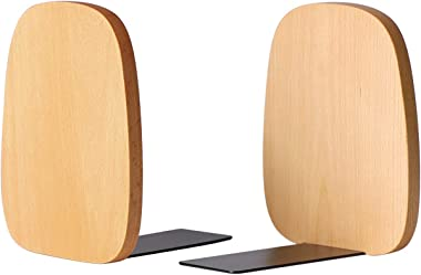 "muso wood Bookends Support for Shelves,Decorative Book Ends for Heavy Books/Office Files/Magazine 5.51"" x 4.72"" x 4.25""(Beech"