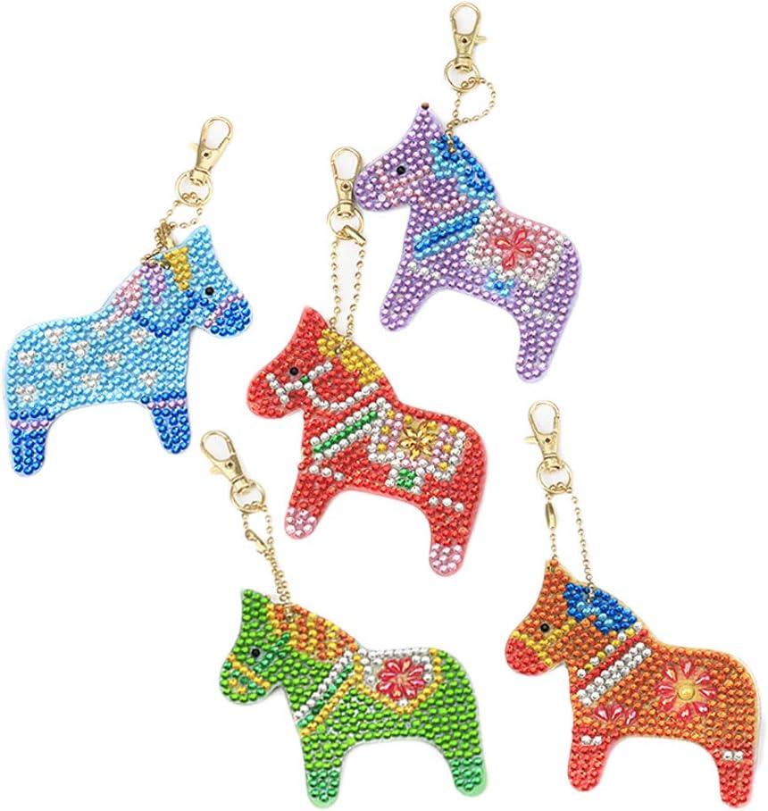 LoveinDIY 5PCS Rhinestone Keyrings DIY Diamond Horse Colourful Crystal Keychain Keyrings for Women Girls Bag Purse Handbag Charms Pendant Birthday Gift