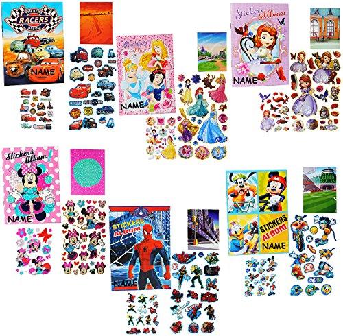 alles-meine.de GmbH Sticker & Stickeralbum -  Jungen Motiv  - incl. Name - Stickerbuch - Aufkleber - Mickey Maus / Playhouse / Spider-Man / Winnie The Pooh / Cars - Stickerheft..