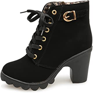 ♪✿ Women's Lace Up Cross Ankle Bootie Western Mid Heel Bootie Closed Pointed Toe Boot