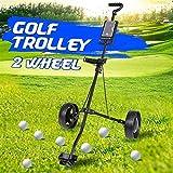 MEEY Golf Trolley Panier Fer Noir réglable 2 Roues en Alliage d'aluminium Golf Caddy Pliable Chariot avec Frein, Facile à Ouvrir Golf Caddy (Color : Black)