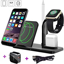 Wireless Charger Stand,Maxzi 3 in 1 Qi 18W Wireless Charger Phone x Dock Pad Compatible with Watch + Airpods + Phone Xs Max/Xs/XR/X/8/8 Plus, Samsung Galaxy S9/S9+/S8/S8+/S7/ Note 8
