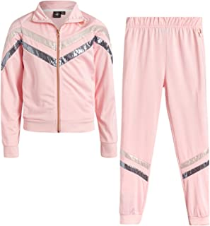 Body Glove Girls' Tricot Jog Set - Full Zip Warm-Up Jacket and Jogger Sweatpants Tracksuit Set