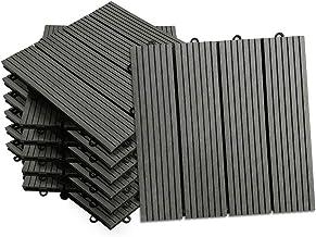 Opun tegels WPC kunststof terrastegels balkontegels kliktegels in houtlook 1m² (11 Stück 30x30 cm) antraciet