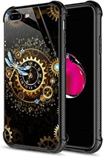 iPhone 8 Plus Case, Steampunk Pattern Tempered Glass iPhone 7 Plus Cases for Mens [Anti-Scratch] Fashion Design Cover Case for iPhone 7/8 Plus 5.5-inch Steampunk