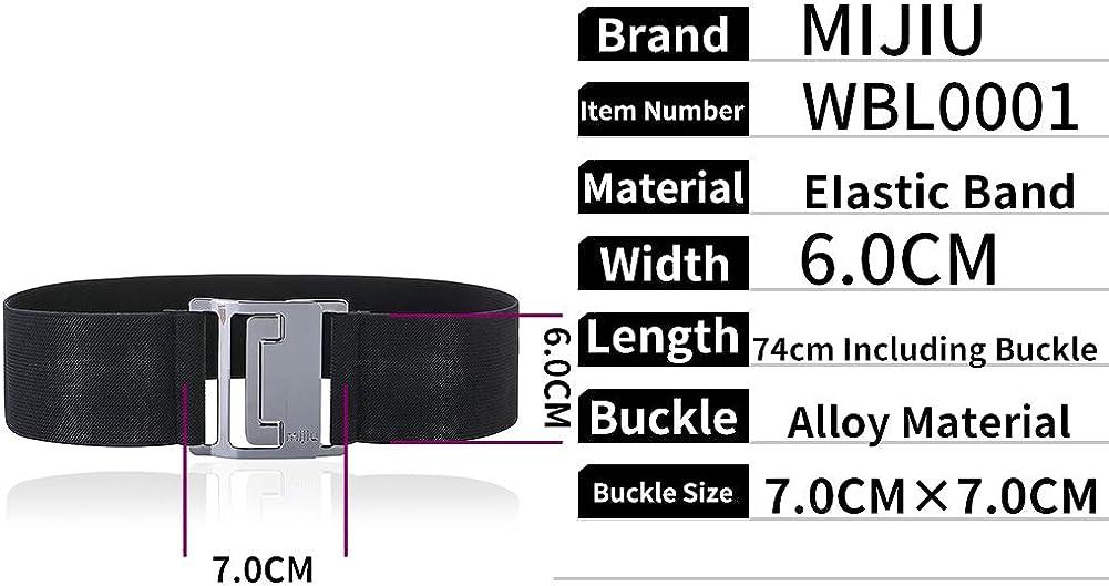 MIJIU Taillen Gürtel Damen Gürtel Elastischer Breiter Taillengürtel Verstellbaren Guertel Mit Legierung Schnalle/7.5CM By Light Gray-1