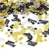 dgaf&bae Happy Birthday Geburtstag Konfetti terne Tisch- Konfetti mit Spiegeleffek Sterne Konfetti Tisch Deko 30G(Schwarzes Gold und Silber)
