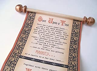Fairy tale Wedding Invitations, Once Upon a Time, in copper and black, set of 10 scrolls