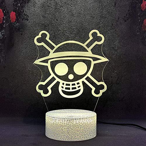 Illusione 3D luce notturna scheletro pirata lampade Decor lampada con telecomando, regalo di compleanno per ragazze ragazzi età 2 3 4 5 6 anni