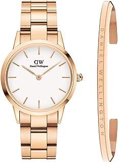 Daniel Wellington Unisex Iconic Link Watch and Classic Bracelet Gift Set, 32mm, Rose Gold