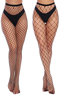Womens High Waist Tights Fishnet Stockings Thigh High...