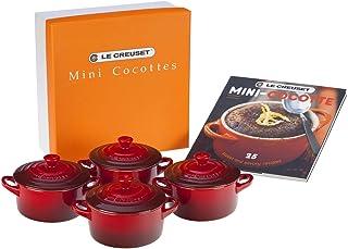 Le Creuset 91006900060010 Set de mini cocottes, Redondas, Cerámica de gres, Rojo (Cereza)