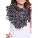 Women's Winter Warm Button Accent Cable Knit Infinity Scarf - YS3680 (Charcoal)