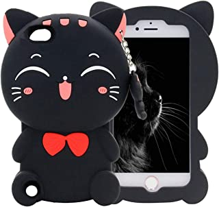 Mulafnxal Black Cat Case for iPod Touch 5 6 5th 6th,3D Soft Silicone Cases,Cute Cartoon Animal Fun Cover,Kawaii Character Unique Girls Kids Cool Protective Protector,Shockproof Rubber Shell for iPod65