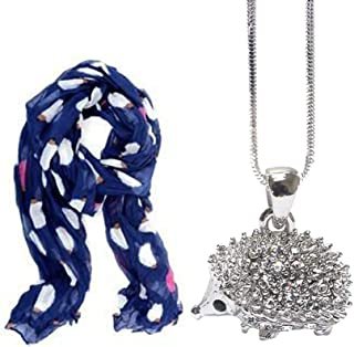 Lola Bella Gifts Hedgehog Lovers Navy Scarf and Necklace Bundle