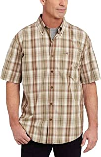 Carhartt Men's Big & Tall Bellevue Plaid Short Sleeve Shirt Button Front Poplin