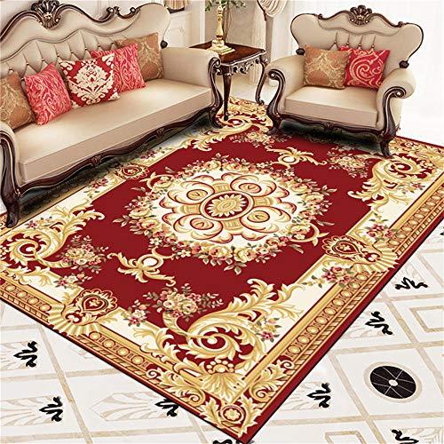 WQ-BBB Interiores La Alfombrers Higroscópico Decoración de Estilo Europeo Rojo marrón Blanco Alfombra De Diseño Moderna 140X200cm