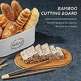 Coralov Brotkasten aus Metall mit Bambus Deckel und Toasterzangen Brotdose, Brotbox mit Luftzirkulation für langanhaltende Frische 40 x18 x12cm - 4