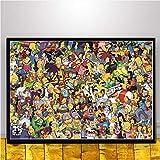 Y-fodoro Simpsons Jigsaw Puzzles Puzzle, Personajes Adultos Película cómica de Dibujos Animados Rompecabezas de Madera de 1000 Piezas, Juguete para Adolescentes Regalo de año Nuevo