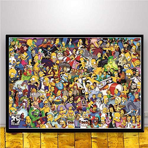 Y-fodoro Simpsons Puzzle Puzzle, Erwachsene Charaktere Comic Cartoon Film Holz 1000 Stück Puzzles, Teenager Spielzeug Neujahrsgeschenk