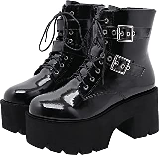 Details about  /Gothic Strappy Combat Boots Womens Block Heel Pull On Brogue Mid Calf Boots Size