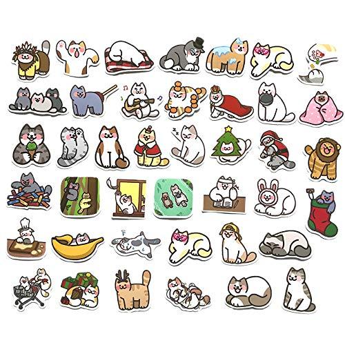Crean ステッカー 猫 40枚セット かわいい おしゃれ 防水 シール ノートパソコン スマホ ヘルメット スーツケース ノートなど適用