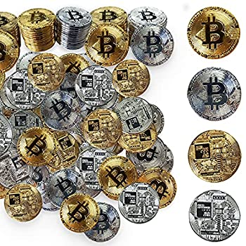 60Pcs Bitcoin Gold and Silver Limited Edition Commemorative Bitcoin Cryptocurrency Virtual Currency Coins for Collectors Business Gift Party Supplies Collecting Products