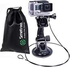 Smatree Suction Cup Mount with Stainless Steel Tether Lanyard and Drawstring Bag Compatible with GoPro Hero8/7/6/5/4/3+/3/2/1 Camera/Car Windshield Window