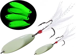 JSHANMEI Noctilucent Luminous Spoons Metal Fishing Lures Hard Bait Night Glow Sea Fishing Spoon Sequins with Feather Treble Hook Bass Walleyes Trout Fishing
