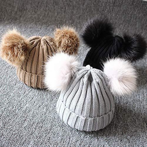 NIUPANNieuwe pasgeboren baby kinderen meisjes jongens winter warme gebreide muts harige ballen pompom stevige warme schattige mooie muts geschenken