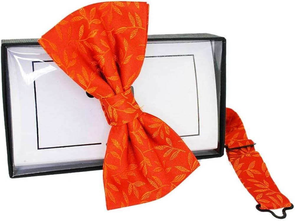 David Van Hagen Mens Floral Jaquard Silk Bow Tie - Orange