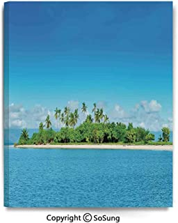 Home Decoration Painting Wall Mural Uninhabited Island at Philippines Beach Palm Trees Forest Tropical Vacation Picture Living Room Dining Room Studying Aisle Painting,12x18inches Blue Green