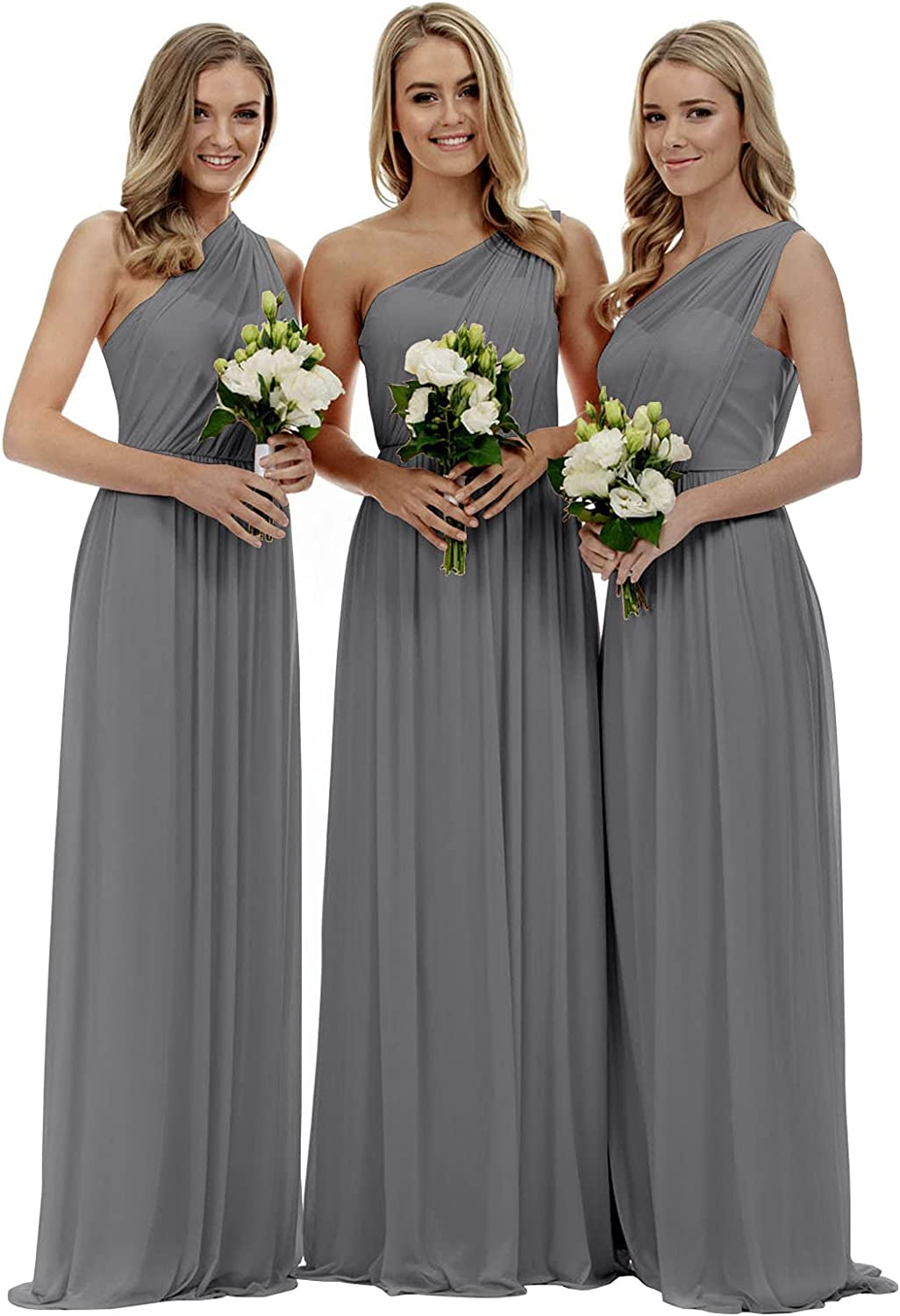 Vnaix Women's A-line Chiffon One Sales of SALE items from new works Dress Long Latest item Shoulder Bridesmaid