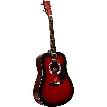 Huntington GA41PS-RDS Acoustic Guitar Dreadnaught Steel String with 1 String Winder, 2 String Sets and 3 Premium Picks, Redburst
