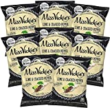 Miss Vickie's Lime & Cracked Pepper Kettle Cooked Potato Chips, 1.375 oz Bags (Pack of 8)