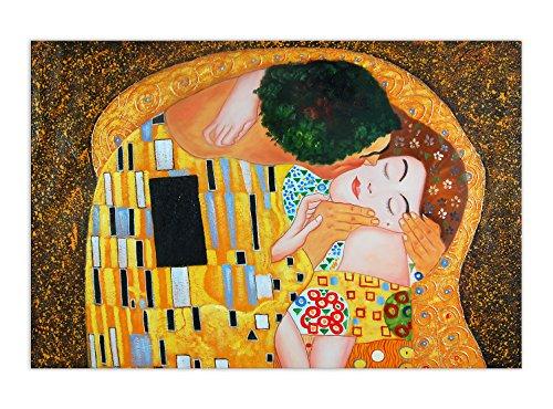Arte dal Mondo kl094iat 01 Bacio Dettaglio A Mano Pittura a Olio su Tela con Cornice