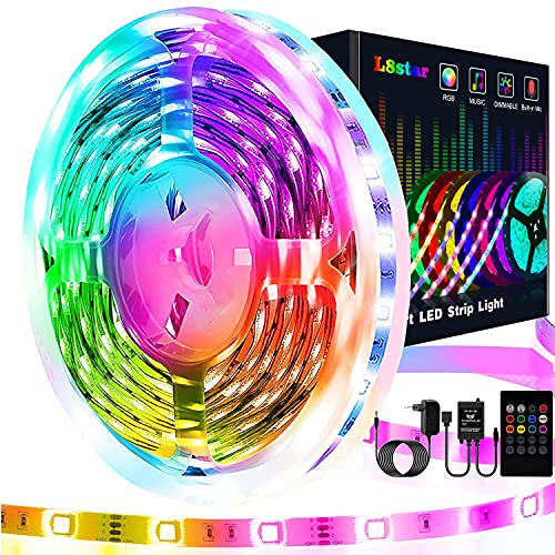 Striscia Led 5 Metri, L8star 5m Led Striscia Strisce Luminose con Controller Bluetooth Sincronizza con la Musica Luci Led Camera da Letto Adatto per Decorazioni per feste e per la casa (5M)