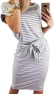 PALINDA Women's Striped Elegant Short Sleeve Wear to Work...