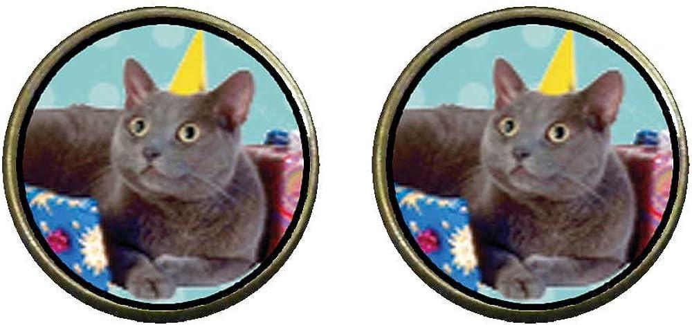 GiftJewelryShop Bronze Retro Style Birthday Cat Photo Clip On Earrings 14mm Diameter