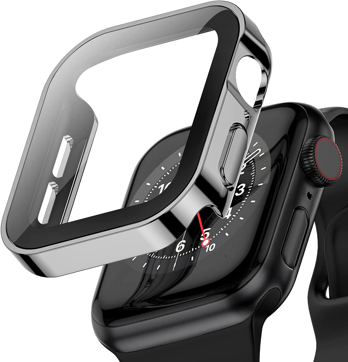 Applaro Black Hard Case with Tempered Glass Compatible with Apple Watch Series 6 SE Series 5 Series 4 40mm, Ultra-Thin Durable Waterproof Protective Cover for iWatch Screen Protector