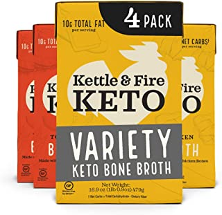 Butter Chicken and Tom Yum Chicken Keto Bone Broth Variety Pack by Kettle and Fire, Bone Broth Soup, Organic, High Protein...