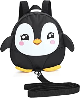 Zicac Kids Toddler Cute Penguin Backpack with Safety Harness Leash Playful Preschool Lunch Boxes Carry Bag (Black)