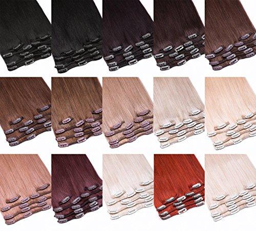 Clip-In Extensions Echthaar Haarteil Set 7tlg - 70cm Farbe #18 Dunkelblond 7 Teiliges Haarteil Für Komplette Haarverlängerung - Top Dunkelblonde 100% Remy Echthaar Clip in Extension