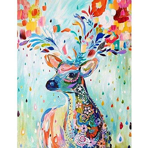 DIY Deer Diamant Malerei, Vierkant voller bunter Bohrer Diamant Malerei Kit für Erwachsene, 5D Diamant, 5D Diamant Gemälde Kit, für Home Wand-Dekor, Malen nach Zahlen Kits 15.8X19.7 inch