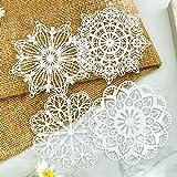 Centrini di carta con pizzo bianco per decorazioni per feste di nozze, scrapbooking, lavori di carta.