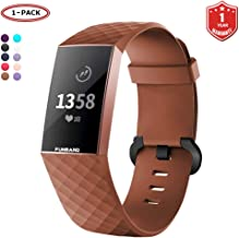 FunBand for Fitbit Charge 3 Strap Bands,Classic Edition Soft Silicone Sport Adjustable Accessory Bracelet Bands (Small or Large Size) for Fitbit Charge 3 Fitness Activity Wristband